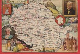 Carte Contour Géographique Du Département Du TARN - France