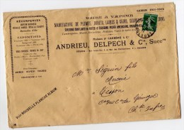 1911 - ENVELOPPE COMMERCIALE De TOULOUSE (HAUTE GARONNE) -> USINE A VAPEUR - Marcophilie (Lettres)
