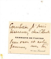 GERMAINE DE CASTRO.Carte Autographe Signée  .envoi à Claude Gével.(né Weill ) - Autographes