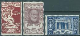 ITALY  - MLH/* - 1922 -  MAZZINI  - Yv 121-123  - Mi 157-159 Sa  S. 23 128-130 -  Lot 11130 - 1900-44 Vittorio Emanuele III