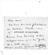 André WARNOD.Carte Autographe Signée  .envoi à Claude Gével.(né Weill ) - Autographes