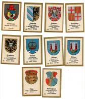 10 Chromos Blasons : Bermudas, Natal, Birmingham, Malaga, Barcelona, Groningen, Granada, Szegedin, Toledo - Sonstige