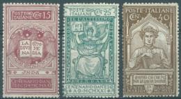 ITALY  - MH/* - 1921 -  DANTE  - Yv 110-112  - Mi 141-143 - Sa  S. 20 116-118 -  Lot 11131 15c AND 25c ARE MVLH/* - 1900-44 Vittorio Emanuele III