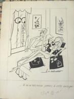 Albert G BADERT DESSIN ORIGINAL Sexy EROTIQUE Pin Up NU ICI PARIS SIGNE - Autographes