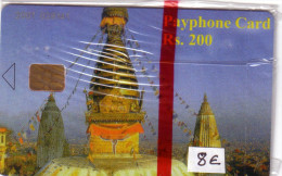 NEPAL DOME TEMPLE KATMANDU 200U FIRST ISSUE 1ERE CARTE PAYS 2001 NSB MINT IN BLISTER - Nepal