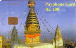 NEPAL DOME TEMPLE KATMANDU 200U UT FIRST ISSUE 1ERE CARTE PAYS 2001 - Nepal
