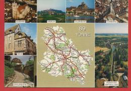 Carte Contour Géographique Du Département De L'YONNE - France