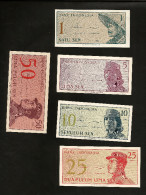 [NC] INDONESIA - BANK Of INDONESIA - 1 / 5 / 10 / 25 / 50 SEN (1964) - LOT Of 5 DIFFERENT BANKNOTES - Indonesia