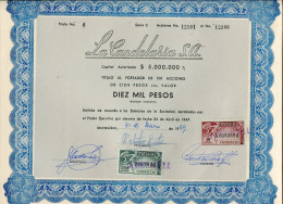 URUGUAY ACCIONES TITULOS SHAREHOLDING TITRES WITH ESTAMPILLAS TIMBRES STAMPS DIEZ MIL PESOS Nº06 AÑO 1969 TBE GECKO - Industrie