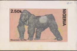Nigeria 1990 Y&T 566. Maquette Avec Composition Pour Les Inscriptions Officielles. Gorille Des Montagnes - Gorilles