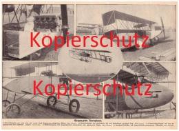 Original Zeitungsausschnitt - 1911 - Gepanzertes Flugzeug , Astra-Dreidecker , Farman-Doppeldecker , Paulhan-Dreidecker - Fliegerei