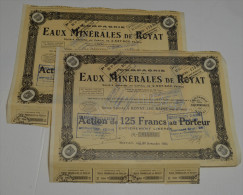 2 Titres, Cie Des Eaux Minerales De Royat Les Bains, Puy De Dome - Eau