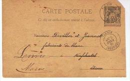 08 - 51 -Type Sage - 10 Centimes - TAGNON Pour LOIVRE - Au Dos Oblit.:Neufchâtel Sur Aisne Et Loivre - Entiers Postaux