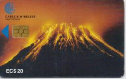 MONTSERRAT ISL. PHONECARDS SOUFRIERE HILLS VOLCANO SECOND ISSUE CHIP 20$  -10000pcs-1/98-USED