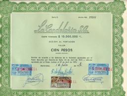 URUGUAY ACCIONES TITULOS SHAREHOLDING TITRES WITH ESTAMPILLAS TIMBRES STAMPS CIEN PESOS Nº 25211 AÑO 1970 TBE GECKO