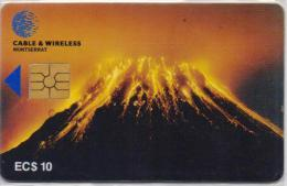 MONTSERRAT ISL. PHONECARDS SOUFRIERE HILLS VOLCANO FIRST ISSUE CHIP 10$  -10000pcs-1/98-USED