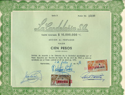 URUGUAY ACCIONES TITULOS SHAREHOLDING TITRES WITH ESTAMPILLAS TIMBRES STAMPS CIEN PESOS Nº 25100 AÑO 1970 TBE GECKO - Industrie