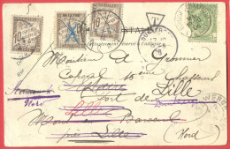 _5i-974 3x 10ct Taxe: + Divers...5ct-tab: BRUGES(STATION)DEPART 06 > STEENWERCK NORD + LIILE + DUNKERQUE + ... - 1859-1955 Lettres & Documents