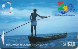SOLOMON ISL.(GPT)  FISHERMAN FROM LAU LAGOON SI20$ FIRST TYPE LOGO  CV:03SDA-1/95-USED - Solomon Islands