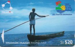 SOLOMON ISL.(GPT)  FISHERMAN FROM LAU LAGOON SI20$ FIRST TYPE LOGO  CV:03SDA-1/95-USED