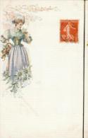 - Femme Dessinée Avec Un Bouquet - Women