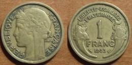 1933 - France - 1 FRANC, Morlon, Cupro-aluminium - France