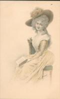 Femme Dessinée  Avec Chapeau Et Livre  - Illustrateur Wichera - Women