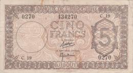 Banque De L´INDOCHINE.  DJIBOUTI        Cinq  Francs. - Indochina