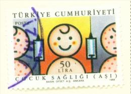 TURKEY  -  1988  Health  50l  Used As Scan - 1921-... Republic