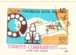 TURKEY  -  1988  Telephone Network  100l  Used As Scan - 1921-... Republic