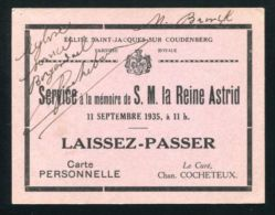RARE QUEEN ASTRID OF BELGIUM TICKET FOR MEMORIAL SERVICE 1935 LAISSEZ-PASSER - Other Collections