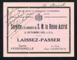 RARE QUEEN ASTRID OF BELGIUM TICKET FOR MEMORIAL SERVICE 1935 LAISSEZ-PASSER - Unclassified