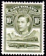 Basutoland-1938 10/- Olive- Green, SG28. Very Fresh MH. - Basutoland (1933-1966)