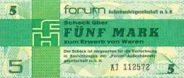 Deutschland, Germany, FORUMSCHECK Der DDR  ( Serie AJ )  5 Mark, 1979 ! - Forum-Aussenhandelsgesellschaft MbH