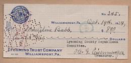 Documento Antiguo - CHEQUE TALON - WILLIAMSPORT, PA  1934 - Cheques & Traverler's Cheques