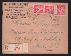 Recommandée De Recette Distribution RAY SUR SAONE - HAUTE SAONE 17.03.1941 Pour PARIS / Affr. Iris - Storia Postale