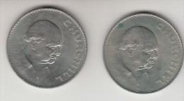 2 X 1 Crown 1965, Winston Chrchill , Great Britain, Elizabeth II  (MT4) - 1902-1971 : Monnaies Post-Victoriennes