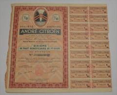 André Citroen, Par Bénéficiaire - Automobile