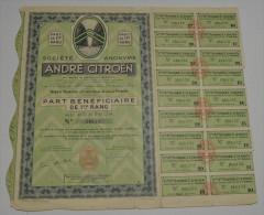 André Citroen, Par Bénéficiaire De 1er Rang - Automobile