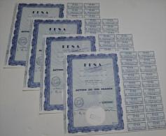 4 Titres, FFSA, Nouvelle Dénomination Fiat France Les Champs Elysees - Automobile