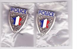 Police Nationale --- Lot De 2 Anciens Insignes De Casquette Métal --- Obsolète --- NEUFS - Police & Gendarmerie