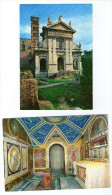 LOT DE 2 CPM  ROMA ROME BASILICA S. MARIA NOVA    FACCIATA E CAMPANILE ROMANICO  CRIPTA  CRYPTE FACADE ET CLOCHER - Eglises
