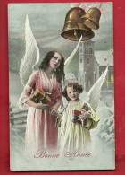 CAN-08 Anges Et Cloches. Bonne Année, Cadeaux.CAchet Montricher 1914 - Angeles