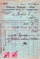 Milano -24-2-1926 VITTORIO CALCIATI -VINI-MARCA DA BOLLO CENT.50 X 2 - Italia