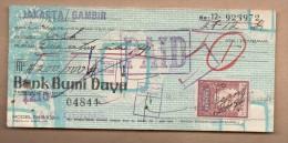 Documento Antiguo - CHEQUE TALON - Bank Dumi Daya INDONESIA - Cheques & Traverler's Cheques