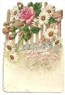 Chromo-image Gaufrée, Barrière Finement Découpée,roses, Marguerites, DIM. 10.5cm X 7.5 Cm - Blumen
