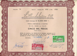 URUGUAY ACCIONES TITULOS SHAREHOLDING TITRES WITH ESTAMPILLAS TIMBRES STAMPS 5.000 PESOS Nº51 AÑO 1970 TBE GECKO - Industrie