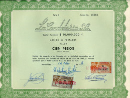 URUGUAY ACCIONES TITULOS SHAREHOLDING TITRES WITH ESTAMPILLAS TIMBRES STAMPS 100 PESOS Nº25063 AÑO 1970 TBE GECKO - Industrie