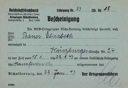 Reichsluftschutzbund, Ortgruppe Aschaffenburg - Certificate That A Person Has Participated In The Air Raid Course In 194 - Militaria
