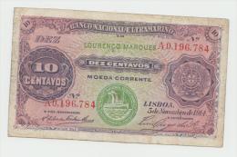 Portugal Mozambique LOURENÇO MARQUES 10 Centavos 1914 VF Pick 59 - Mozambique